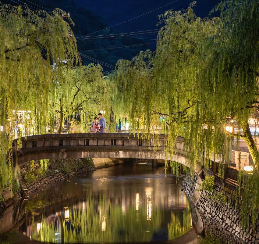 河邊柳樹成蔭,一座石橋橫跨河流。