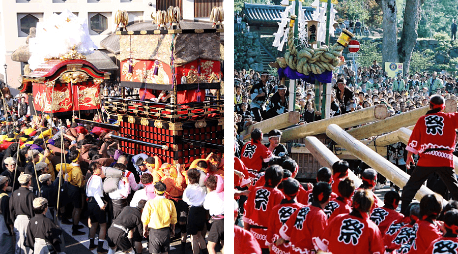 Big fall festivals in Kinosaki and Izushi fighting festivals danjiri matsuri