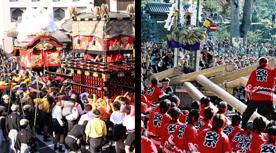 Big fall festivals in Kinosaki and Izushi fighting festivals danjiri matsuri
