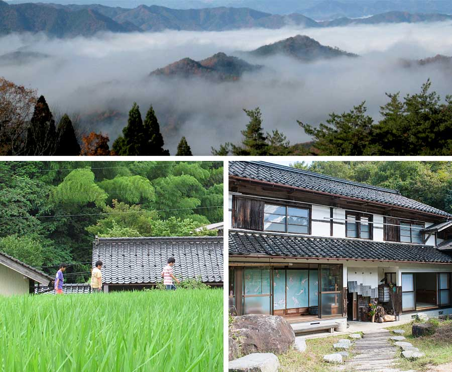 Tanto mountains and traditional Japanese home
