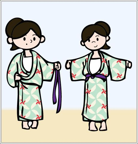 194bc6d03e Holding the yukata closed take the thinner cord and wrap it around your  hips