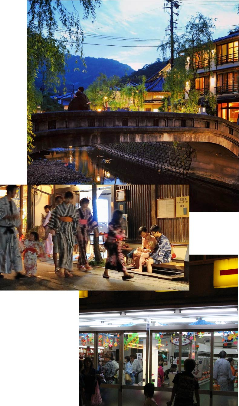 Three pictures: a stone bridge over the willow-lined Kinosaki river, people in colorful Yukata strolling the streets of Kinosaki, and crowds of people in colorful Yukata inside an old-fashioned Showa-style arcade