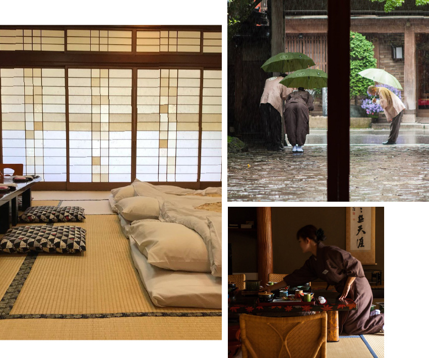 Three photos: 3 futons laying on the tatami floors of a ryokan room, ryokan staff bowing in farewell to leaving customers at the ryokan exit, and ryokan stuff cleaning up a meal after customers have eaten