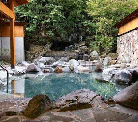 Goshonoyu Onsen's bathing area, looking from the inside outwards. The forest lines the back of the bathing area, giving a sense of seclusion