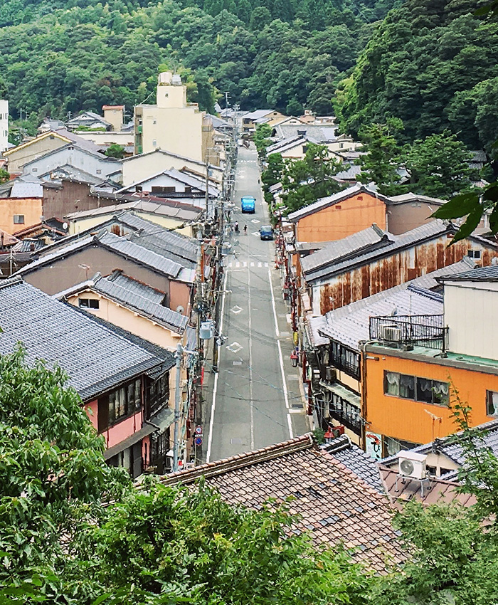 An aerial shot of one of Kinosaki Onsen's main streets