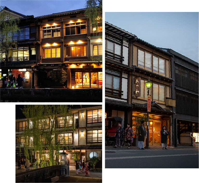 Three pictures of 3 ryokan and their exteriors