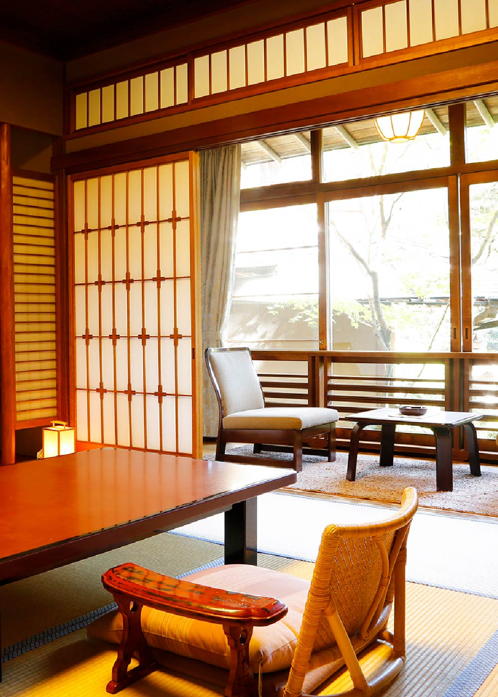 The inside of a traditional ryokan room
